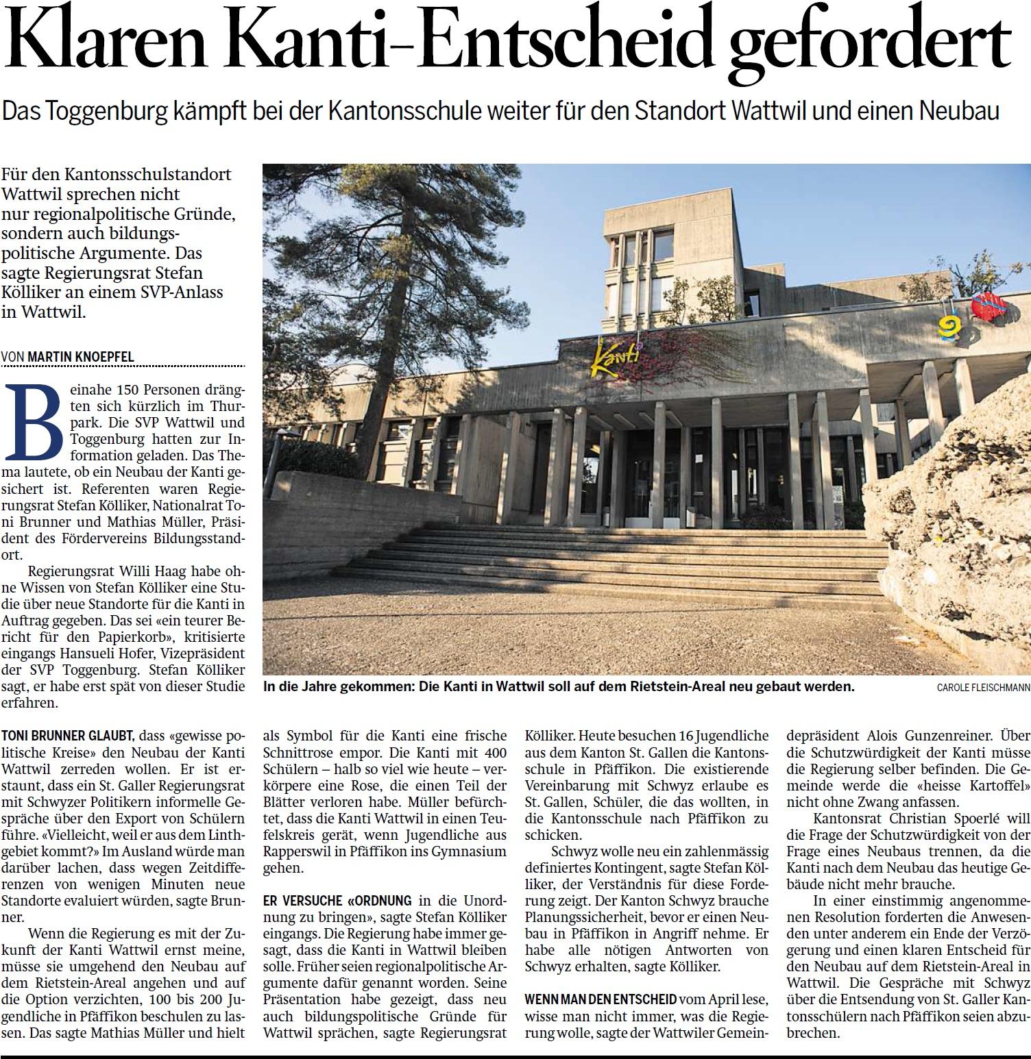 Klaren Kanti-Entscheid gefordert (Sonntag, 16.11.2014)