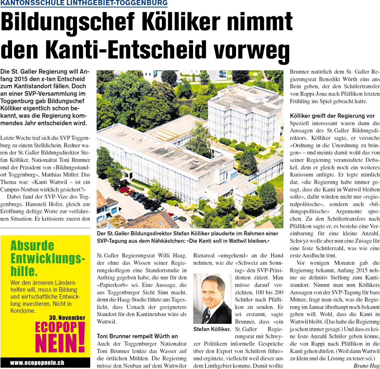 Bildungschef Kölliker nimmt Kanti-Entscheid vorweg (Donnerstag, 20.11.2014)