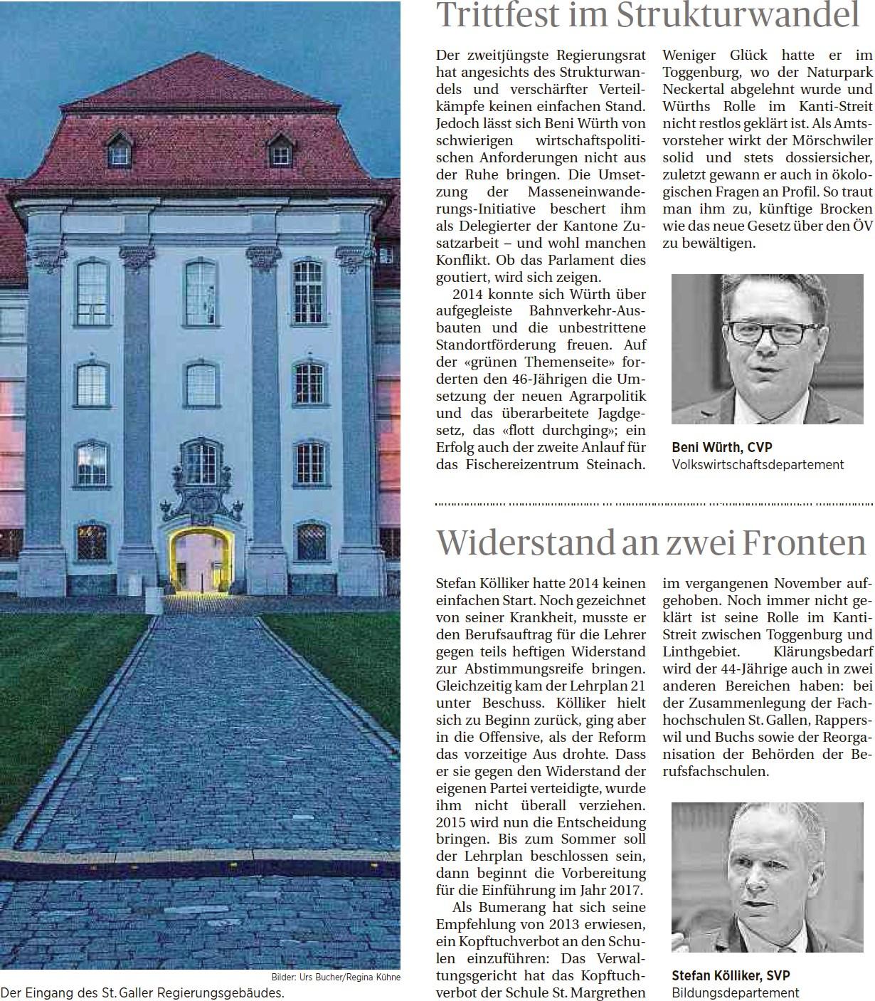 Jahresrückblick Regierungsräte (Mittwoch, 14.01.2015)