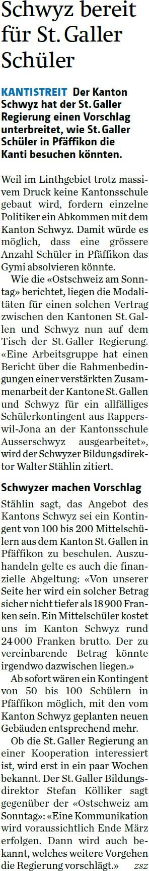 Schwyz bereit für St. Galler Schüler (Montag, 09.02.2015)