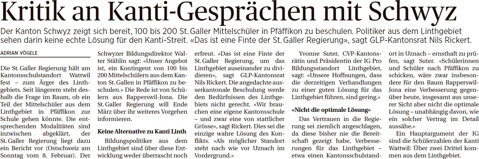Kritik an Kanti-Gesprächen mit Schwyz (Dienstag, 10.02.2015)