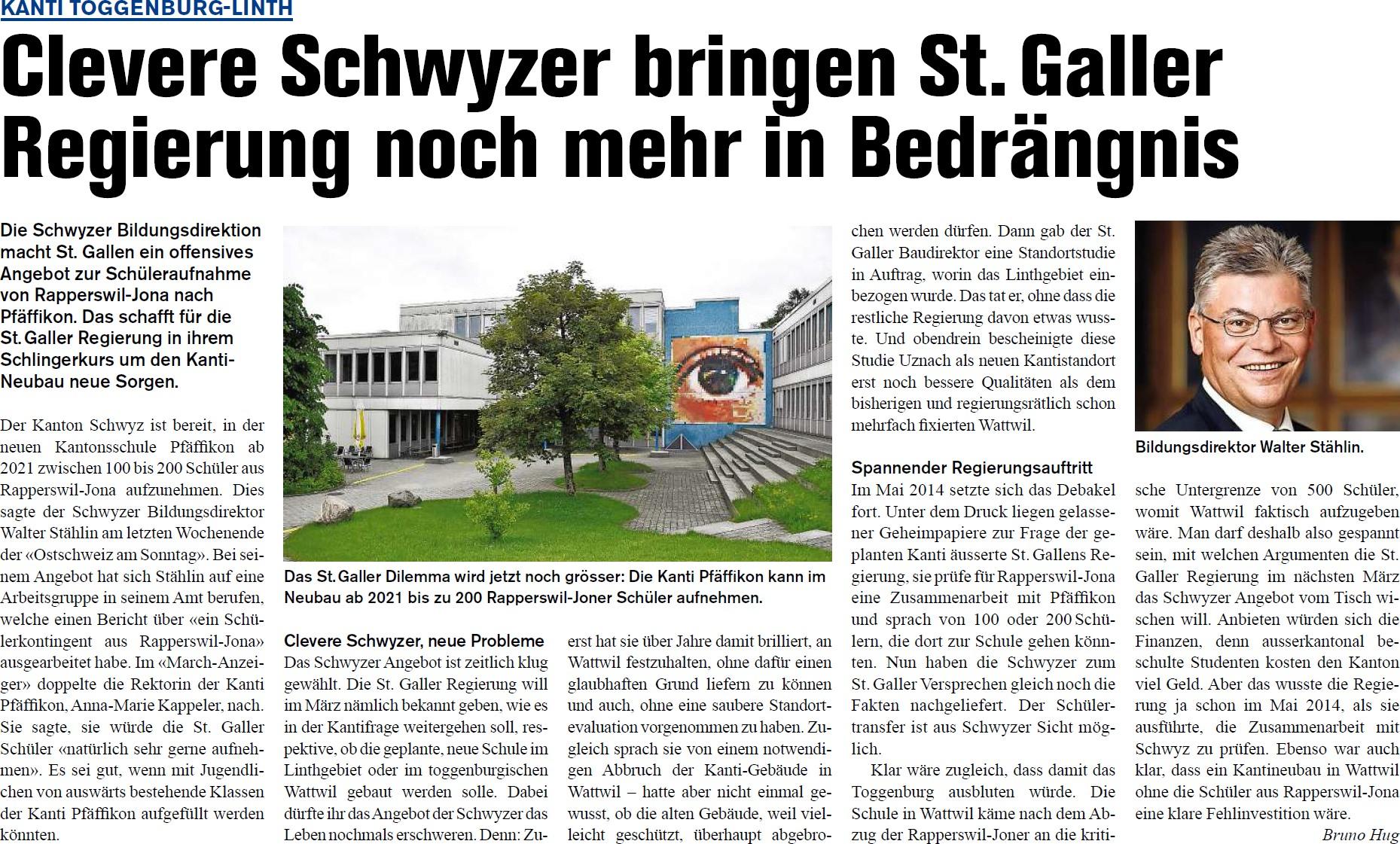 Clevere Schwyzer binger St. Galler Regierung in noch mehr Bedrängnis (Donnerstag, 12.02.2015)