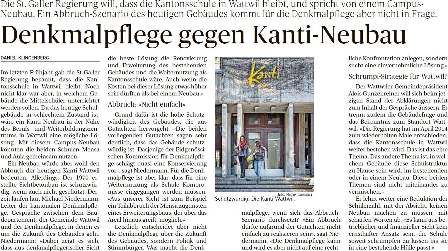 Denkmalpflege gegen Kanti-Neubau (Sonntag, 15.02.2015)