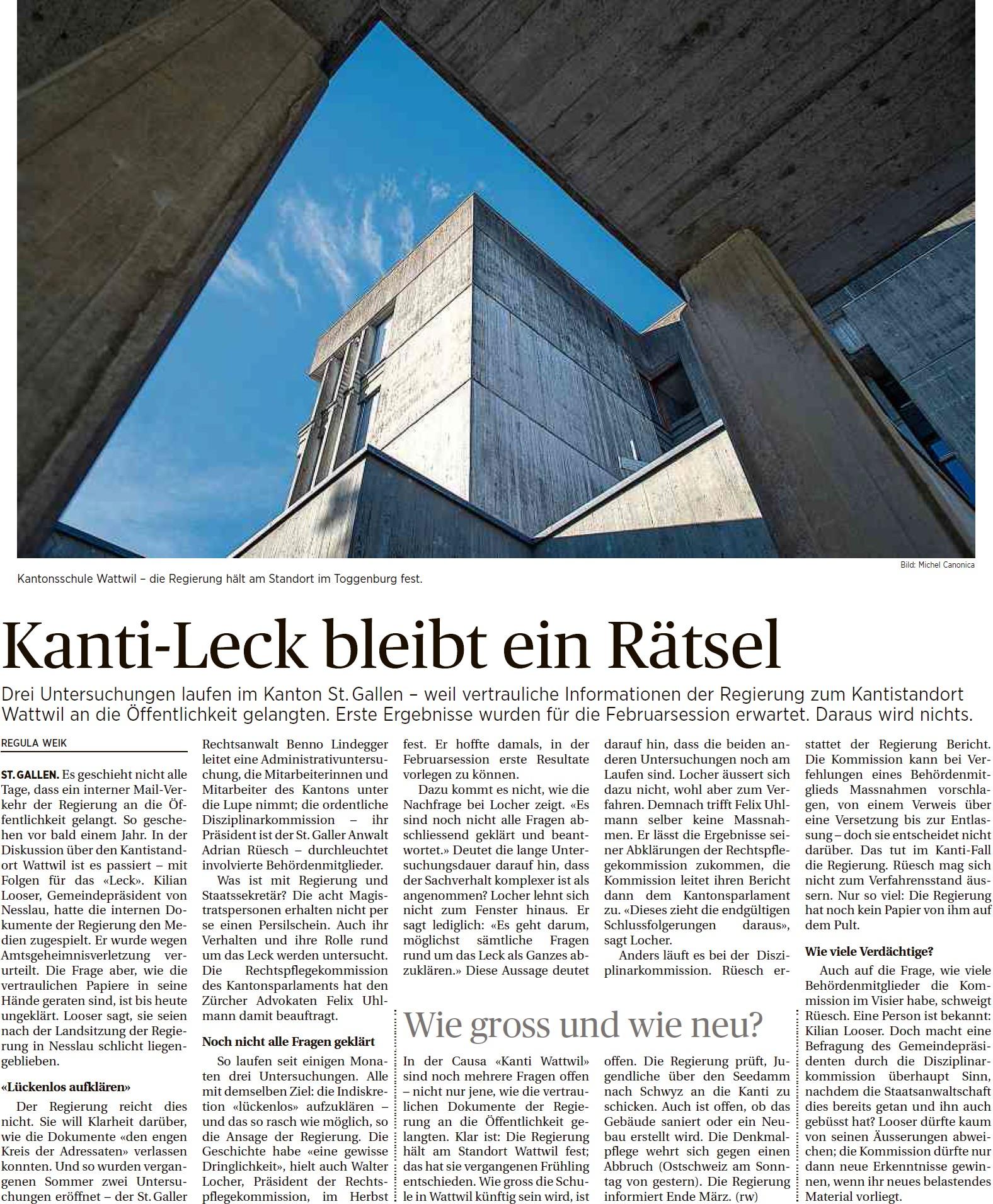 Kanti-Leck bleibt ein Rätsel (Montag, 16.02.2015)