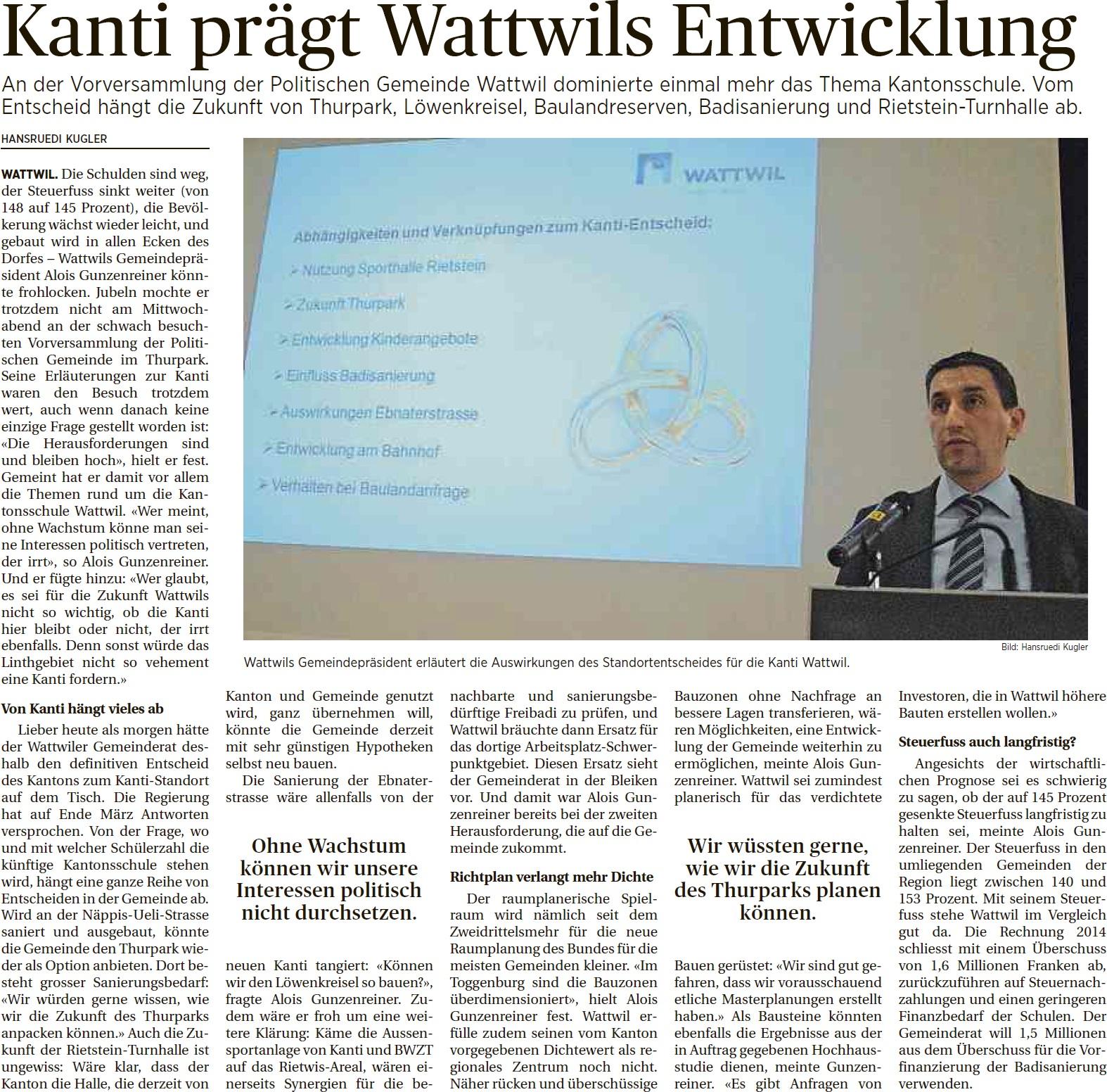 Kanti prägt Wattwils Entwicklung (Freitag, 13.03.2015)