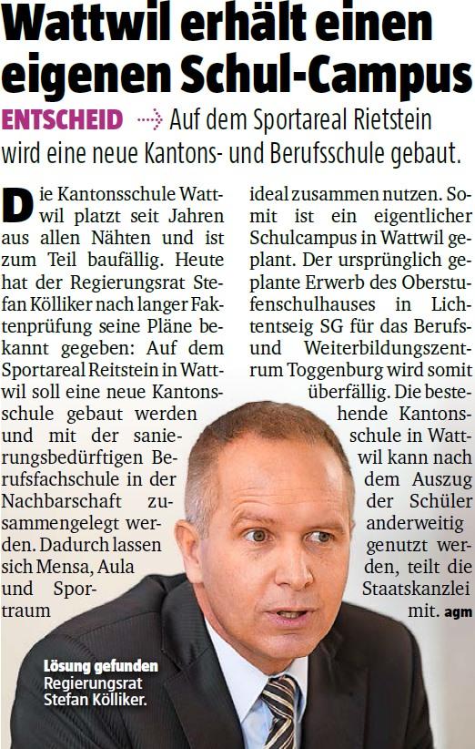 Wattwil erhält einen eigenen Schul-Campus (Montag, 30.03.2015)