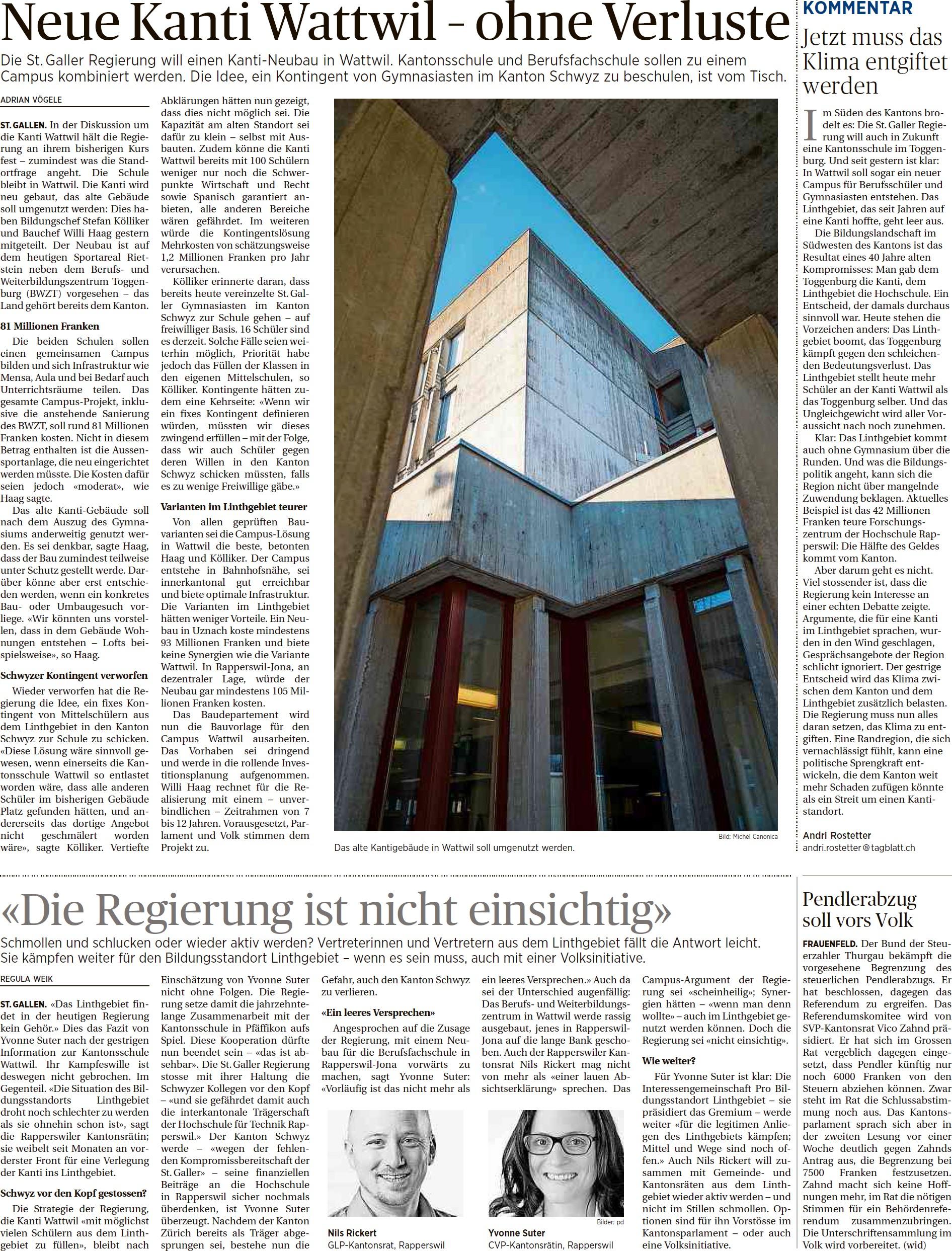 Neue Kanti Wattwil – ohne Verluste (Dienstag, 31.03.2015)