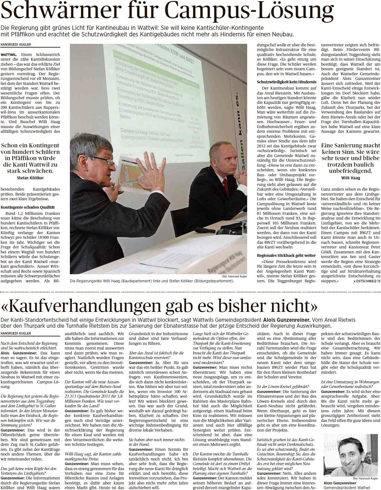 Schwärmer für Campus-Lösung (Dienstag, 31.03.2015)
