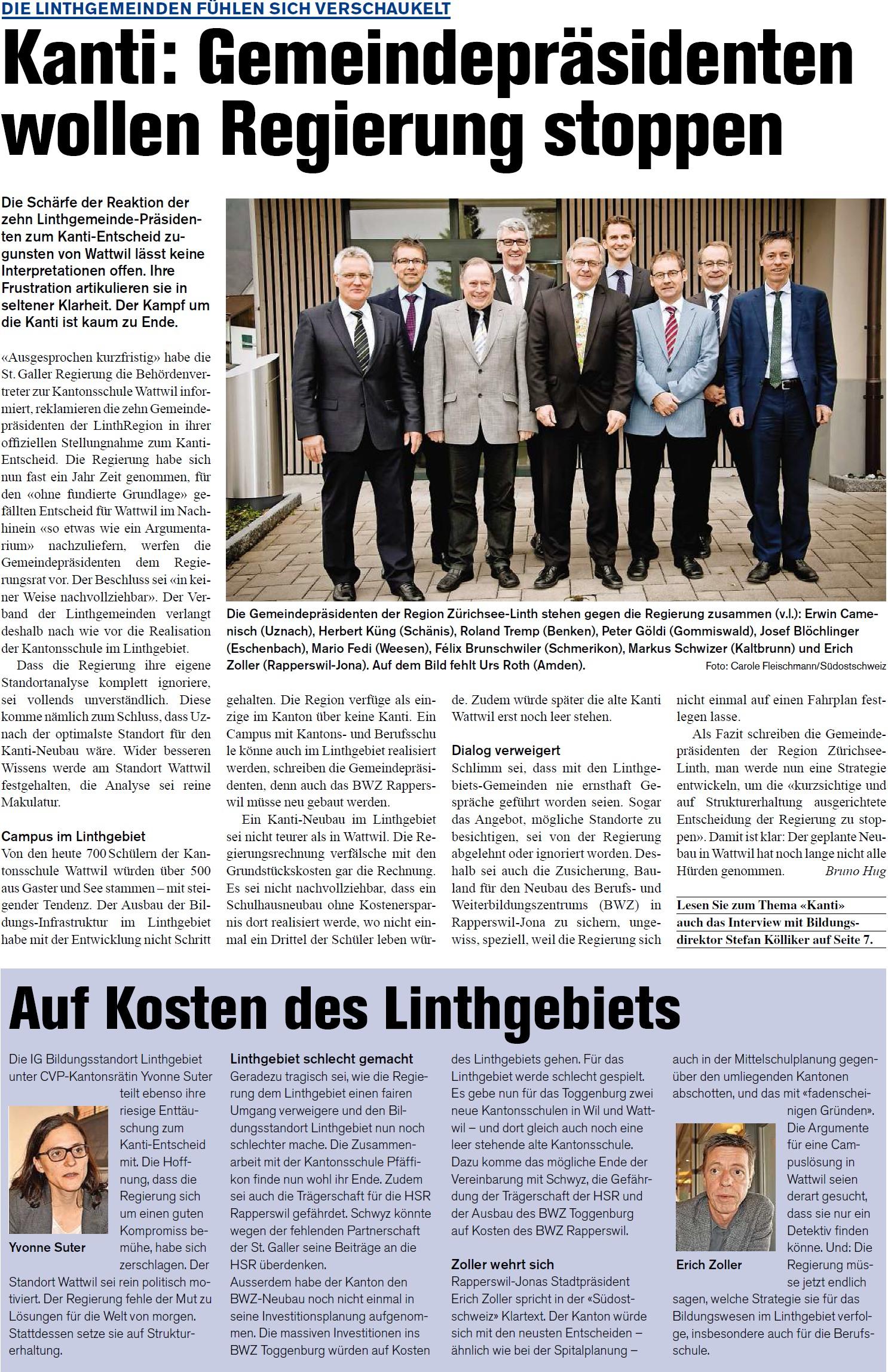Kanti: Gemeindepräsidenten wollen Regierung stoppen (Donnerstag, 02.04.2015)