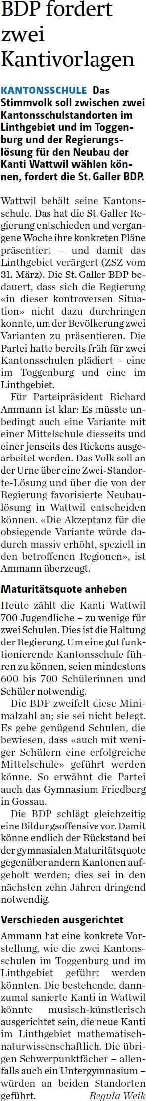 BDP fordert zwei Kantivorlagen (Mittwoch, 08.04.2015)