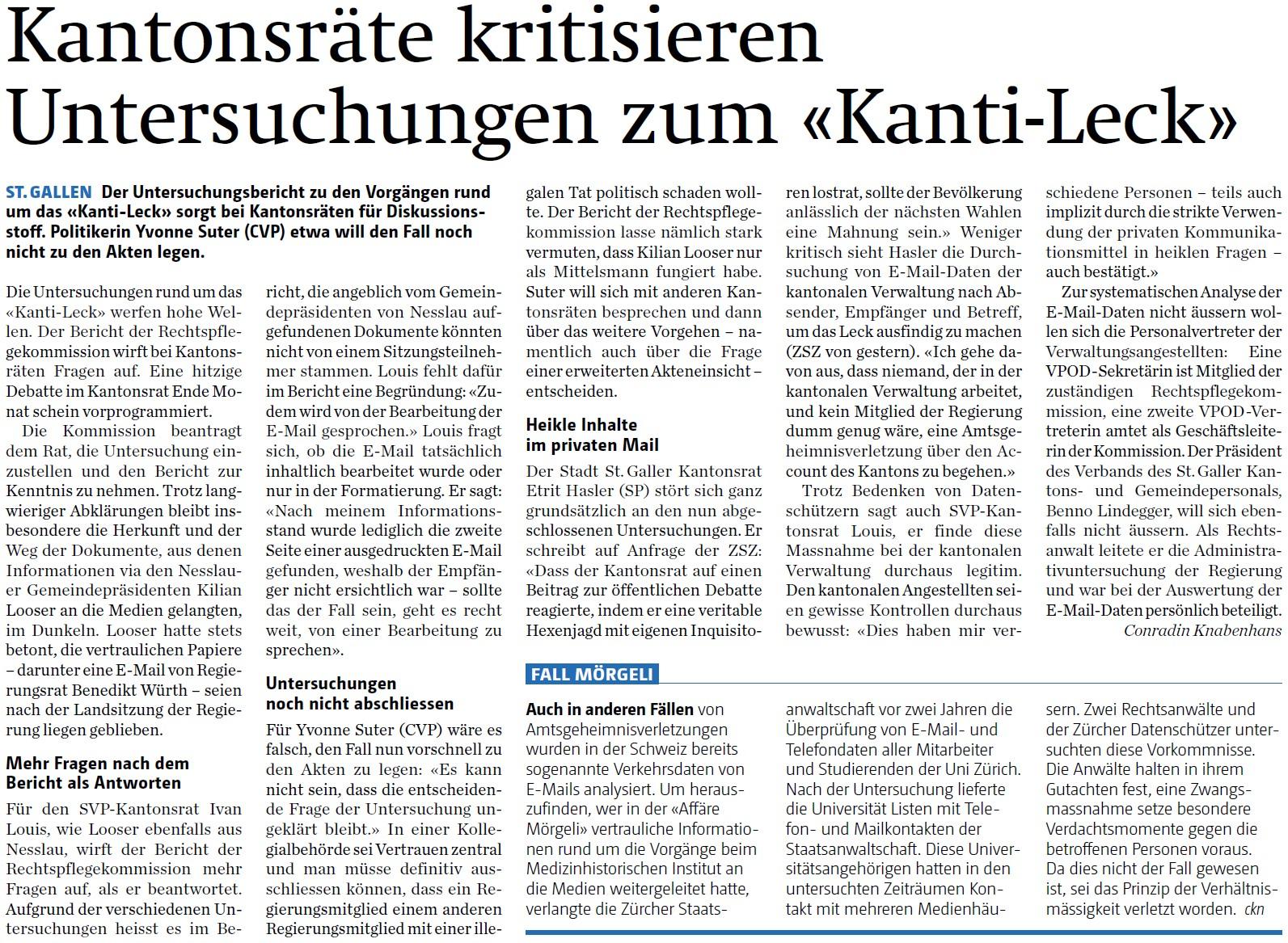 Kantonsräte kritisieren Untersuchungen zum «Kanti-Leck» (Freitag, 20.11.2015)