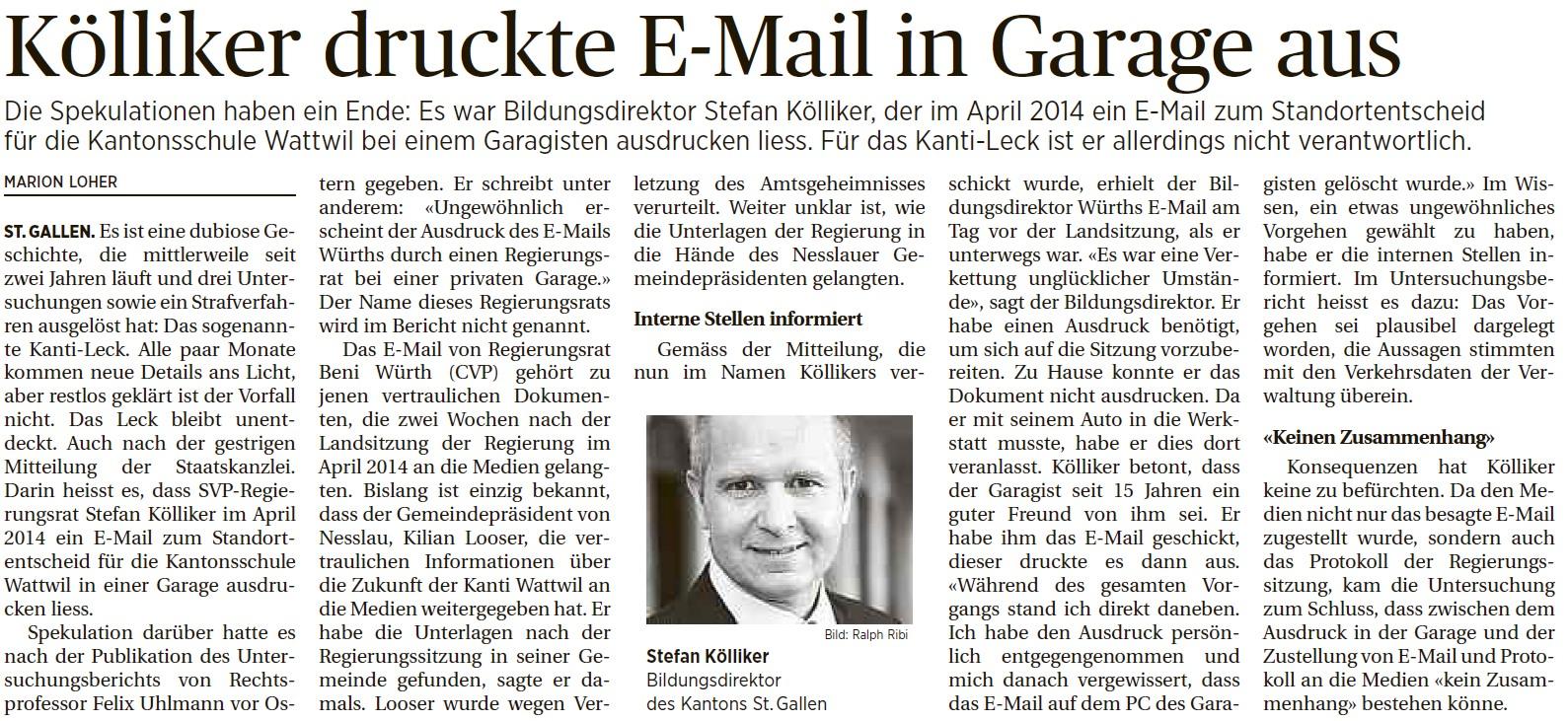Kölliker druckte E-Mail in Garage aus (Donnerstag, 07.04.2016)