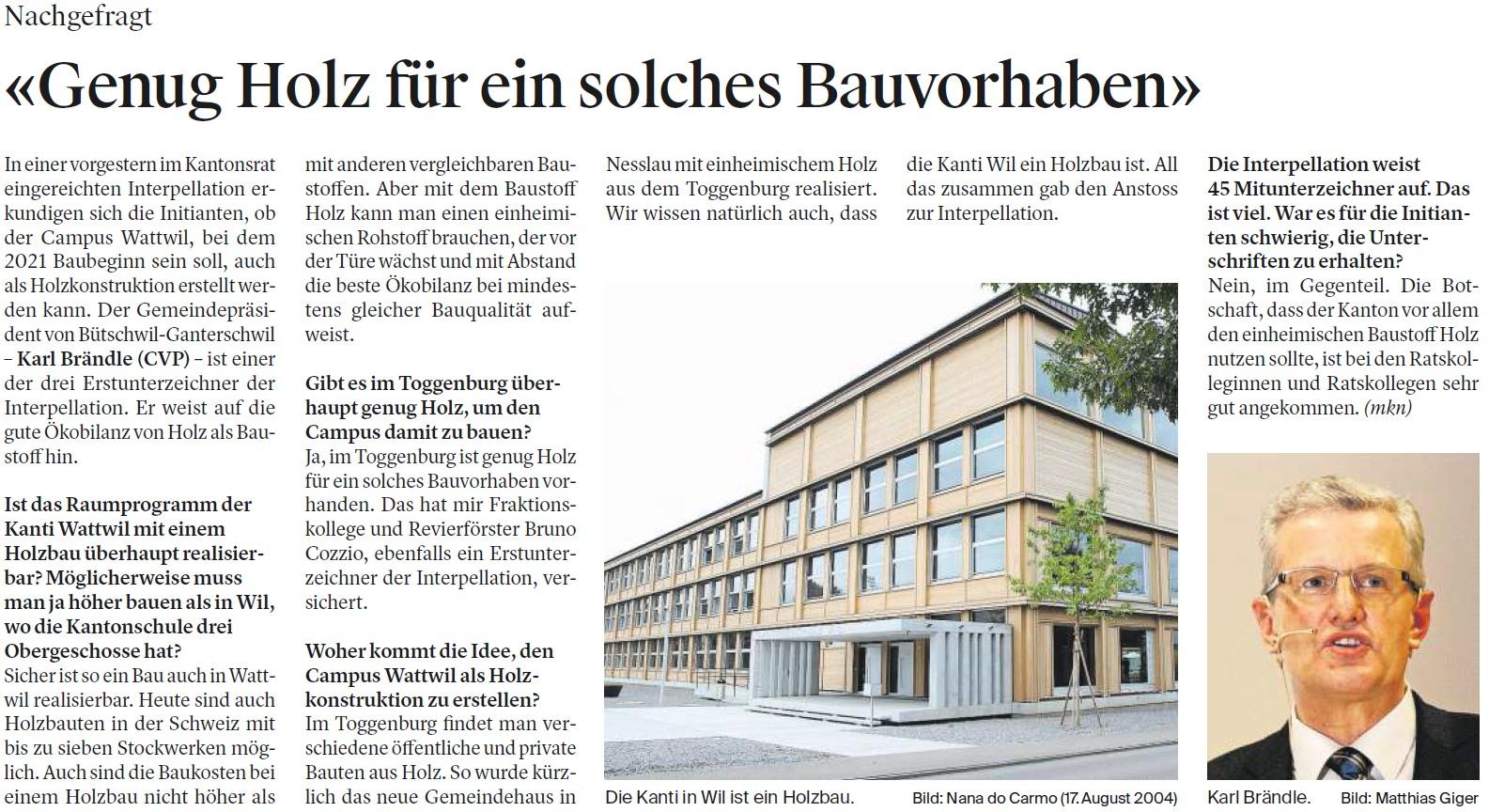 «Genug Holz für ein solches Bauvorhaben» (Freitag, 22.09.2017)