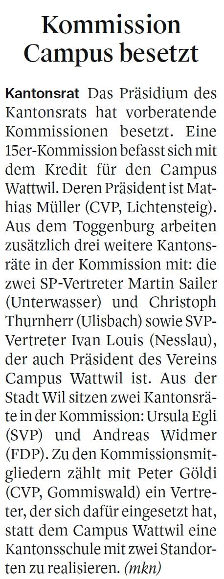 Kommission zum Campus besetzt (Mittwoch, 20.02.2019)
